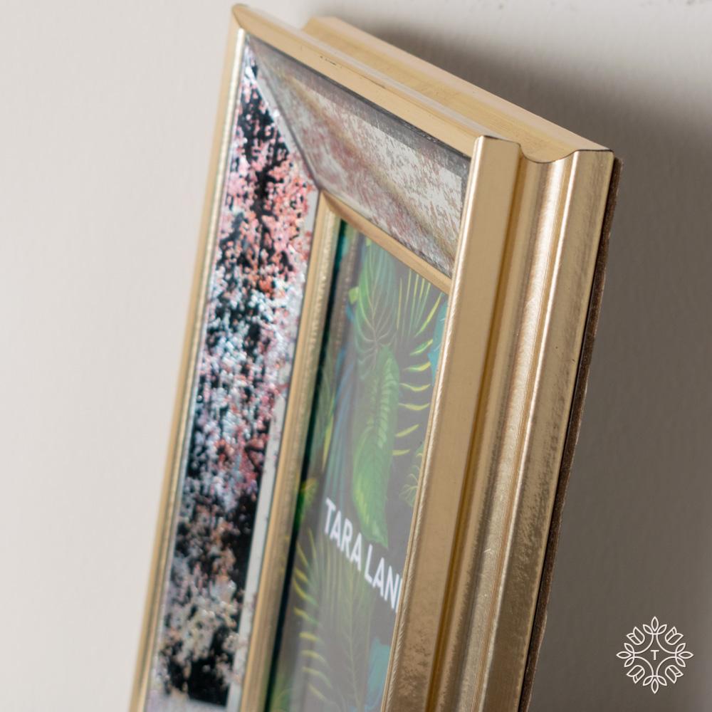 Golden blush mirrored photo frame 5 x 7