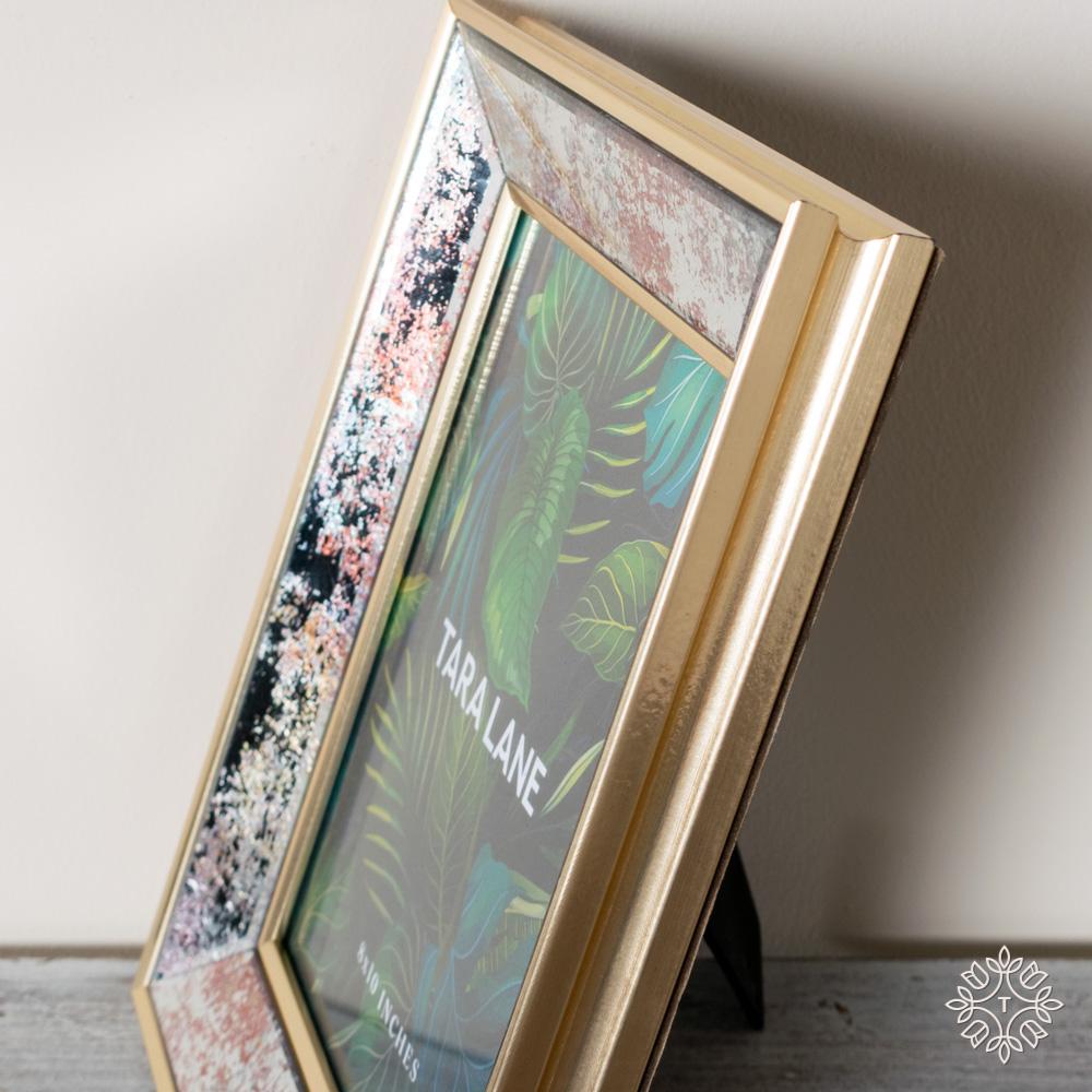 Golden blush mirrored photo frame 8 x 10