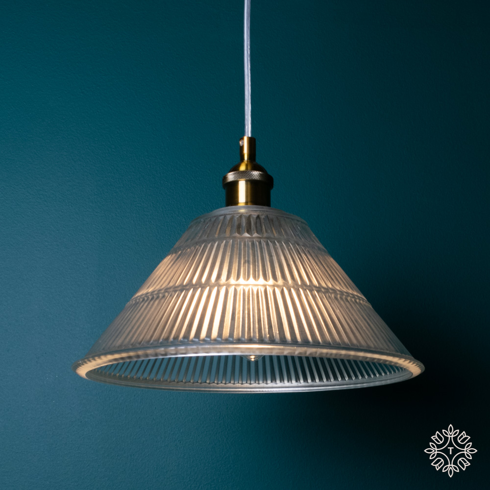 Enzo pendant light glass/gold 30cm diameter