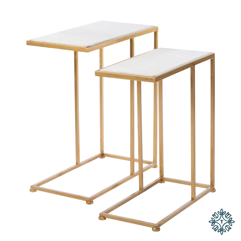 Bella set of two sofa tables marble top gold