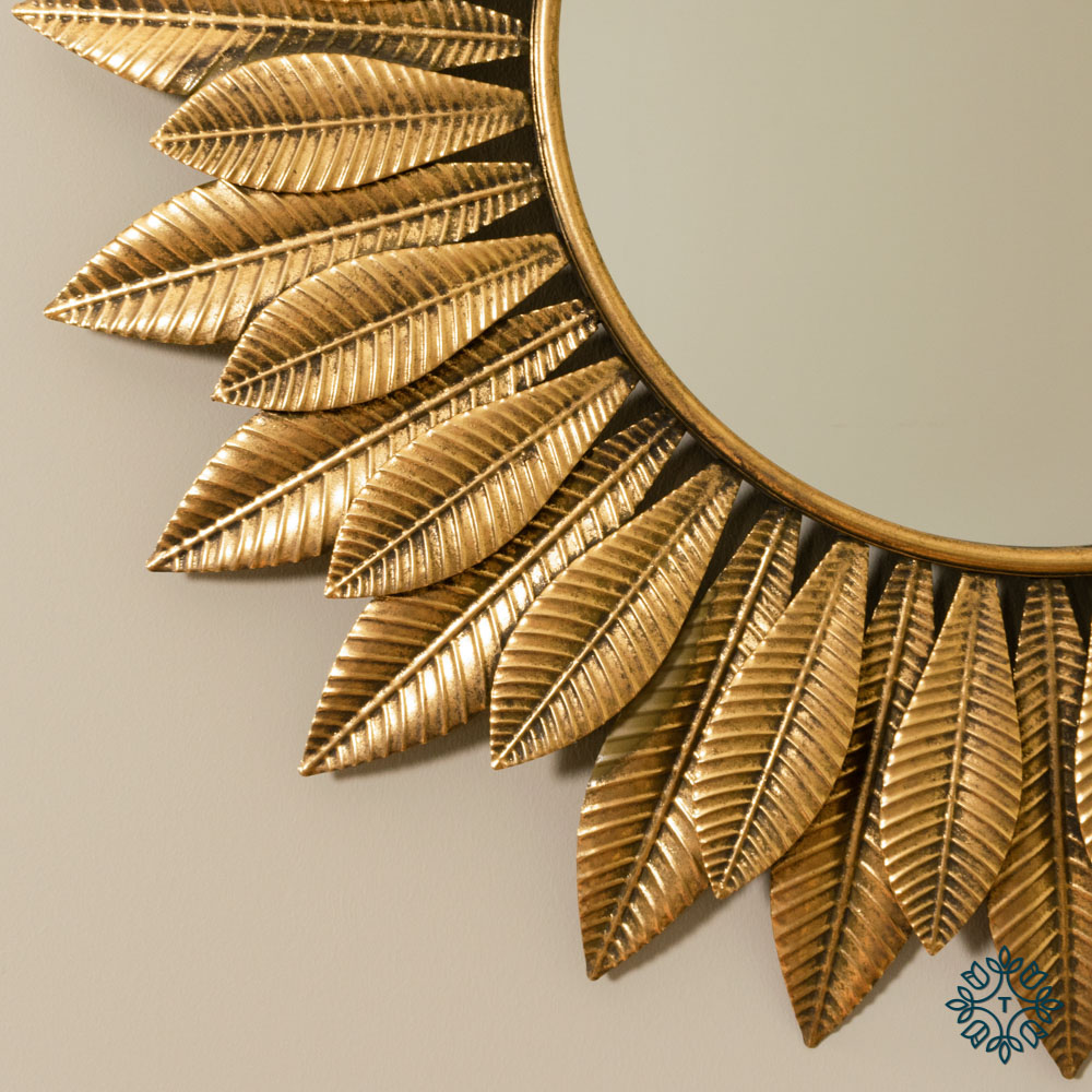 Azure leaf wall mirror gold