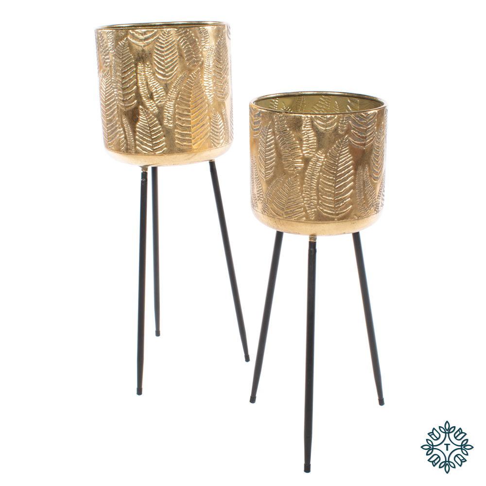 Azure set of two leaf planters tripod gold