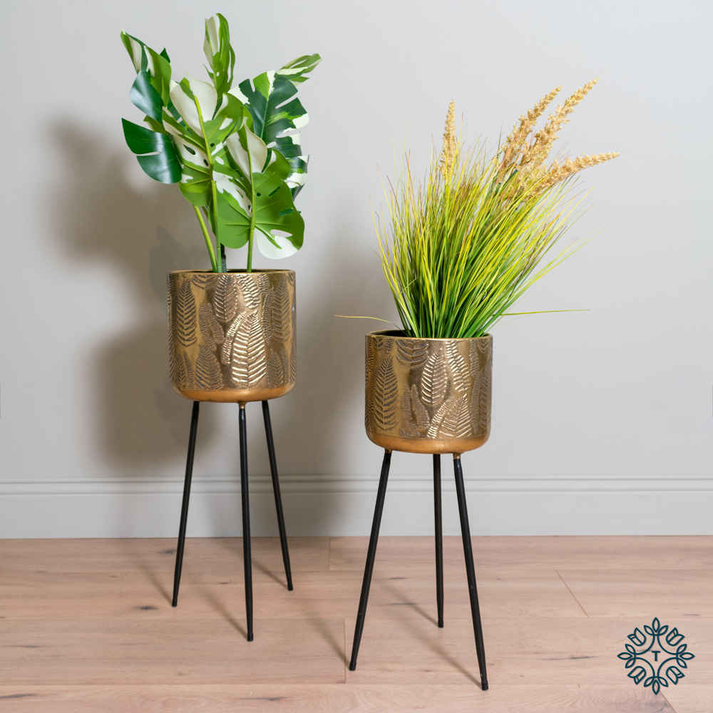 Azure set of two leaf planters tripod gold