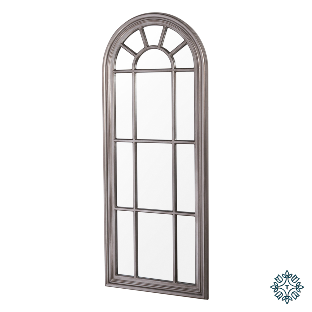 Palladian window mirror lrg antique silver