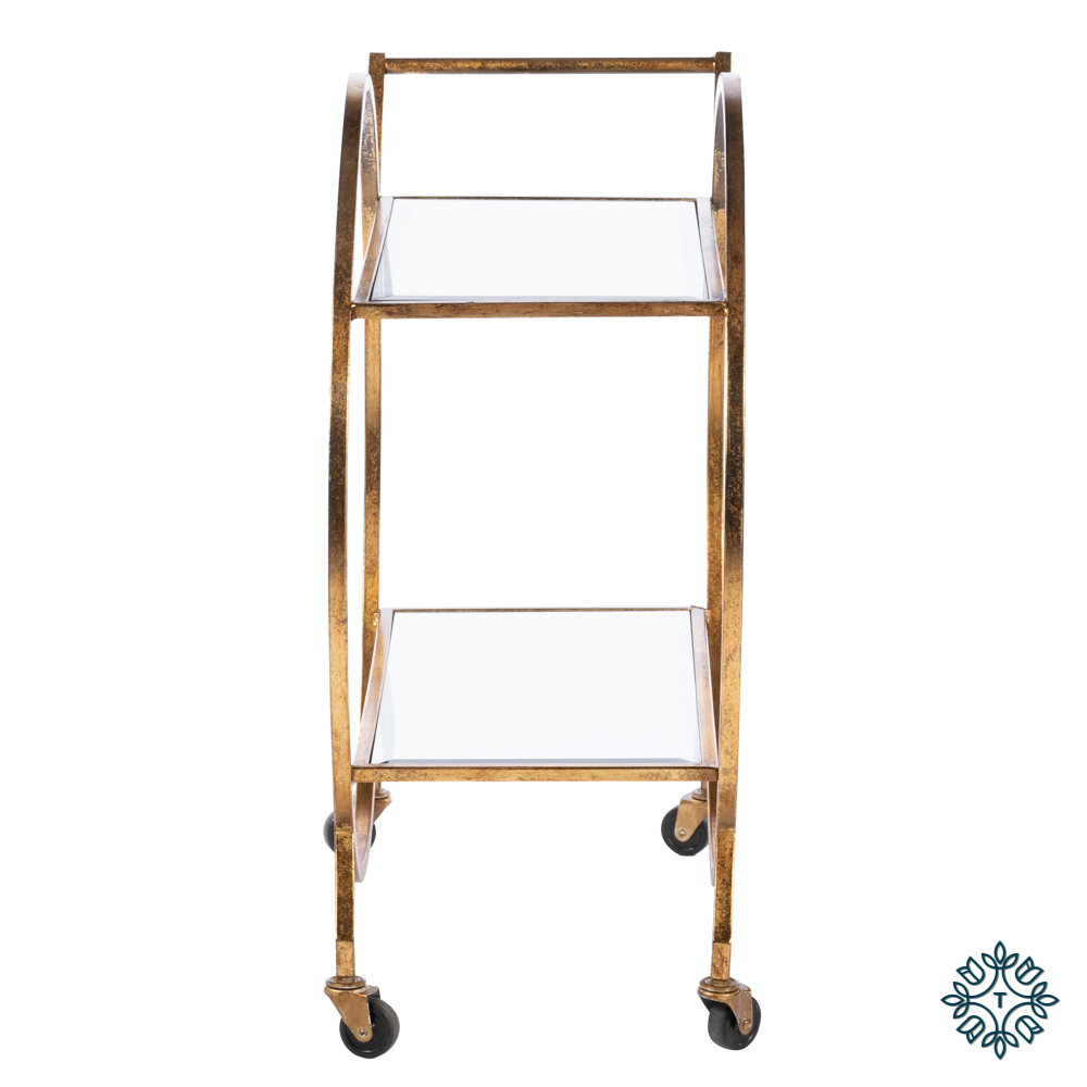 Harriet circle drinks trolley rectangle gold