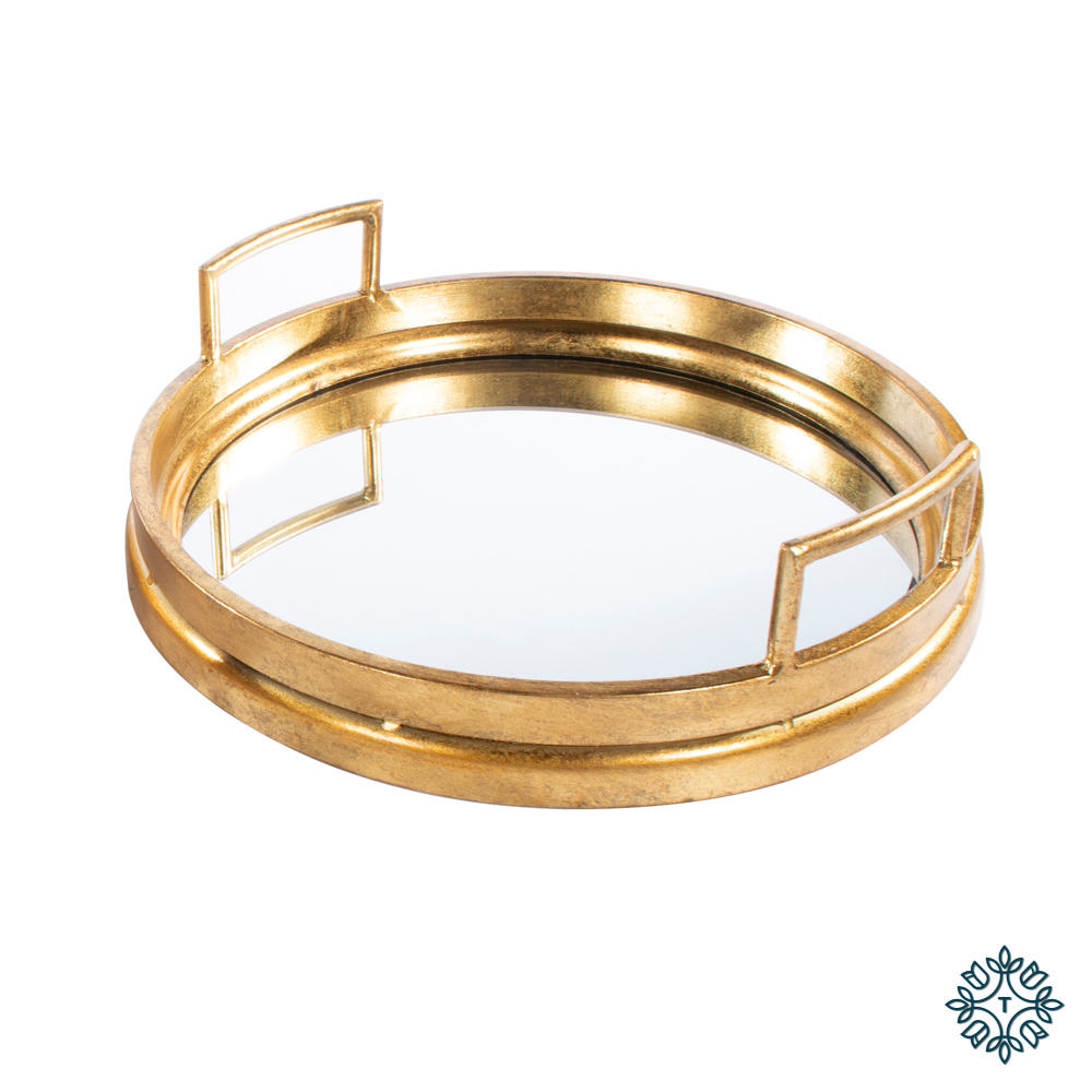 Amelia mirrored tray round gold