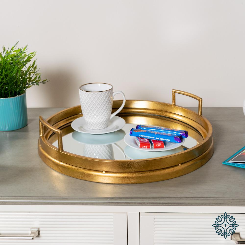Amelia mirrored tray round gold