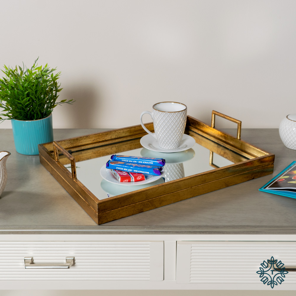 Amelia mirrored tray rectangle gold