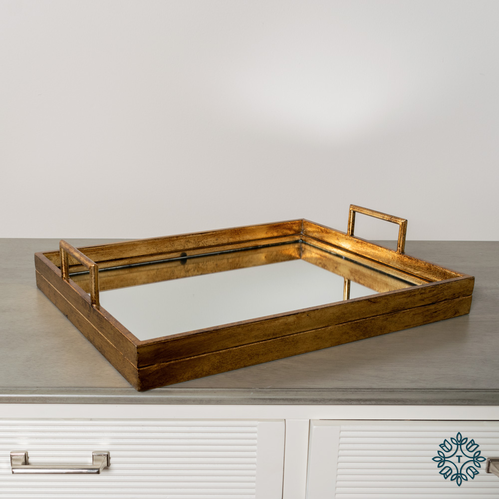 Amelia mirrored tray rect gold