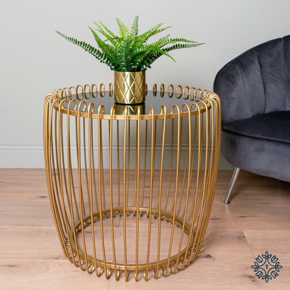 Lottie end table smoked glass gold