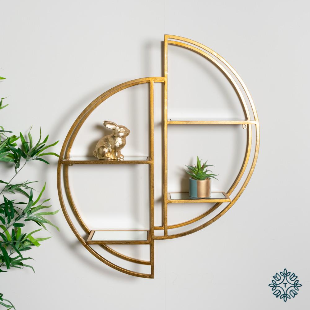 Harriet mirrored wall shelf gold