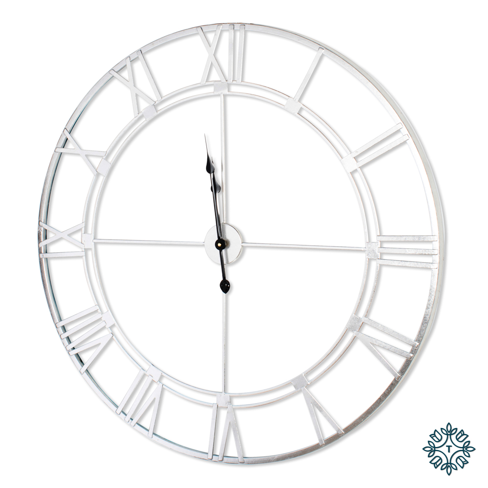 Alana feature wall clock silver leaf