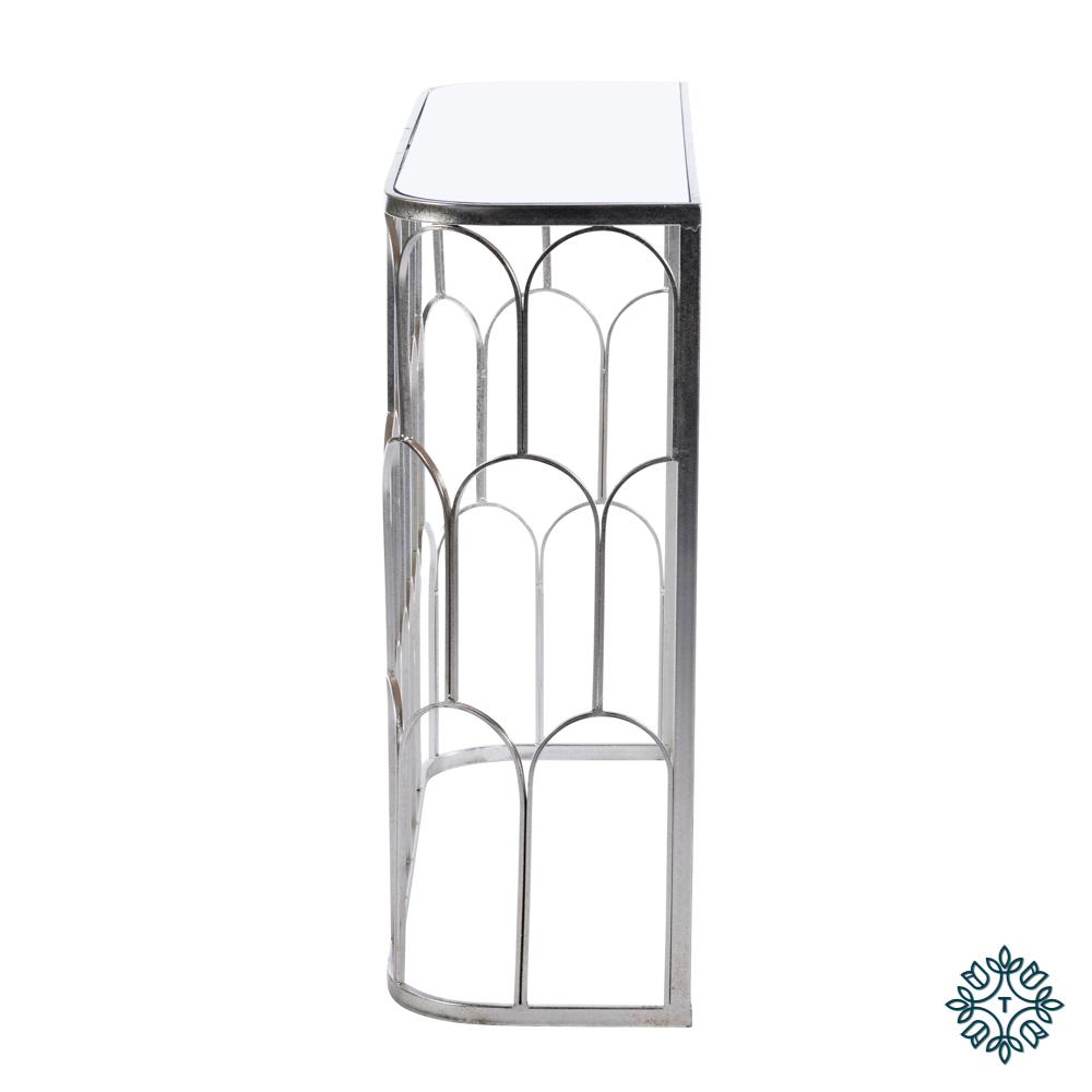Odessa mirrored console silver leaf