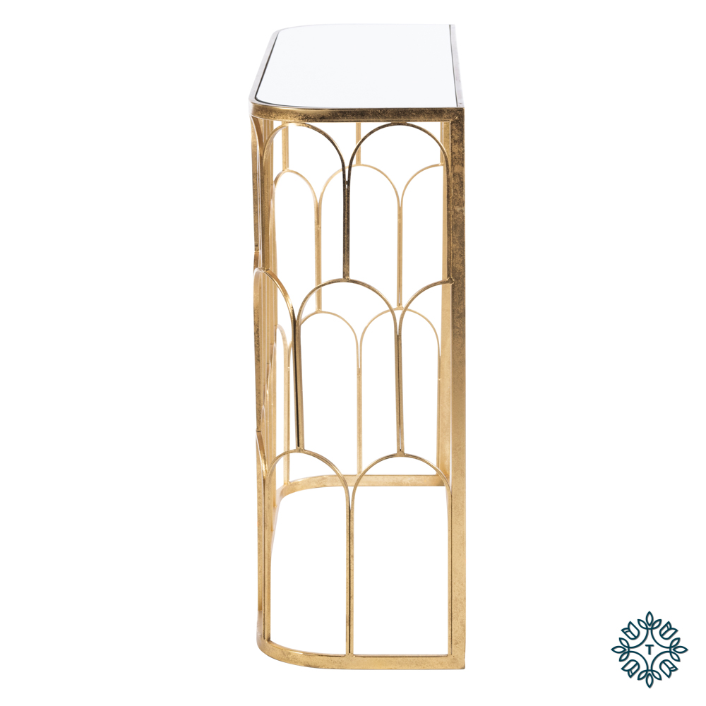 Odessa mirrored console gold leaf