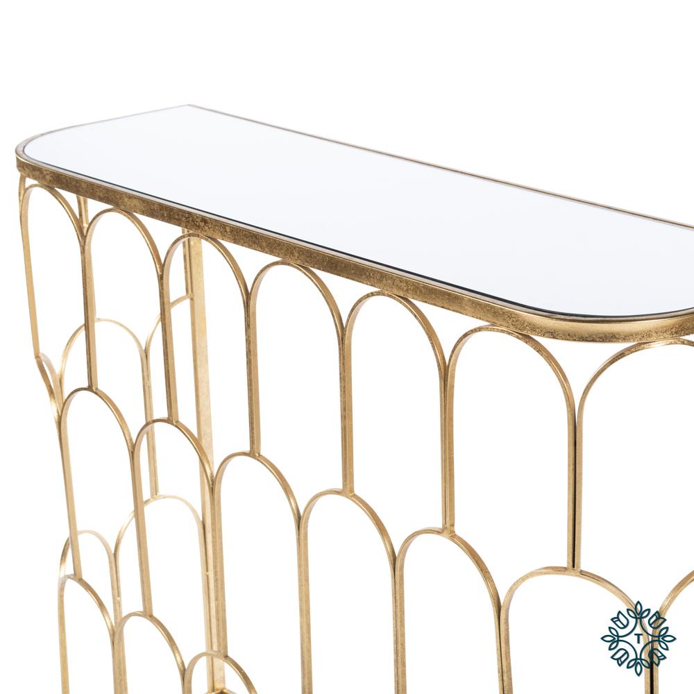 Odessa mirrored console gold leaf