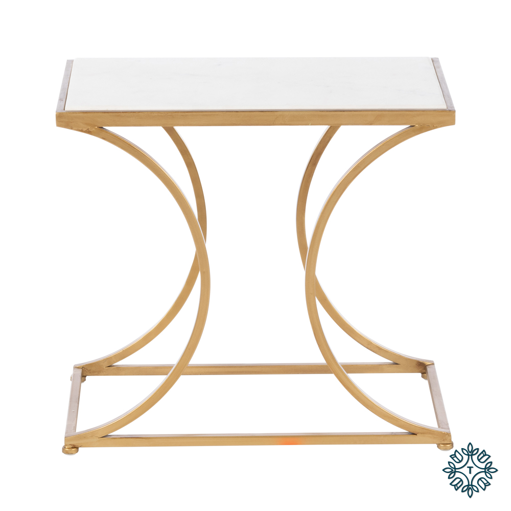 Bella set of two marble top accent tables gold