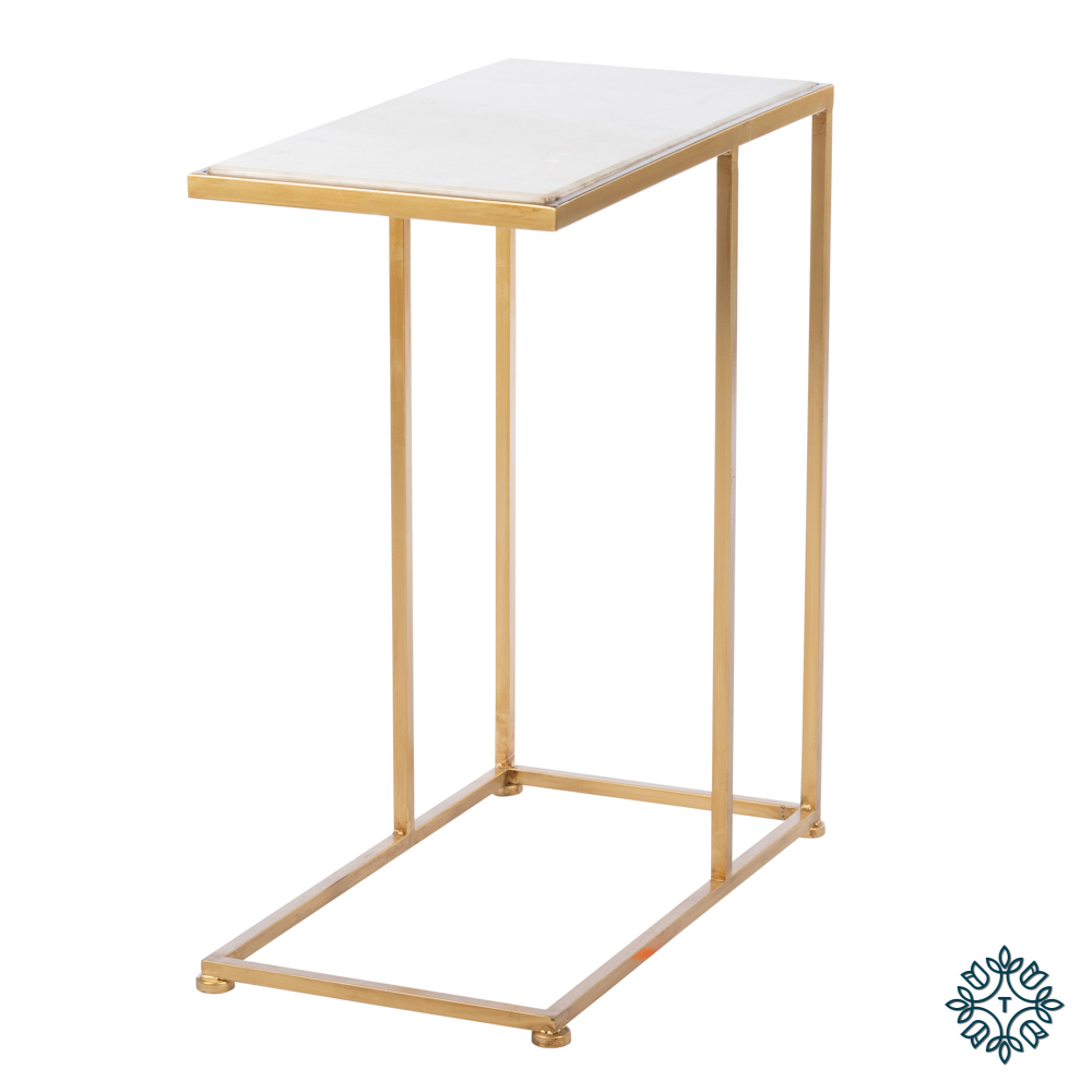 Bella marble top sofa table gold small