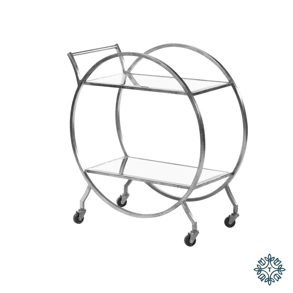 Harriet circle drinks trolley rect silver