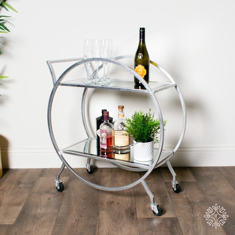 Harriet circle drinks trolley rectangle silver