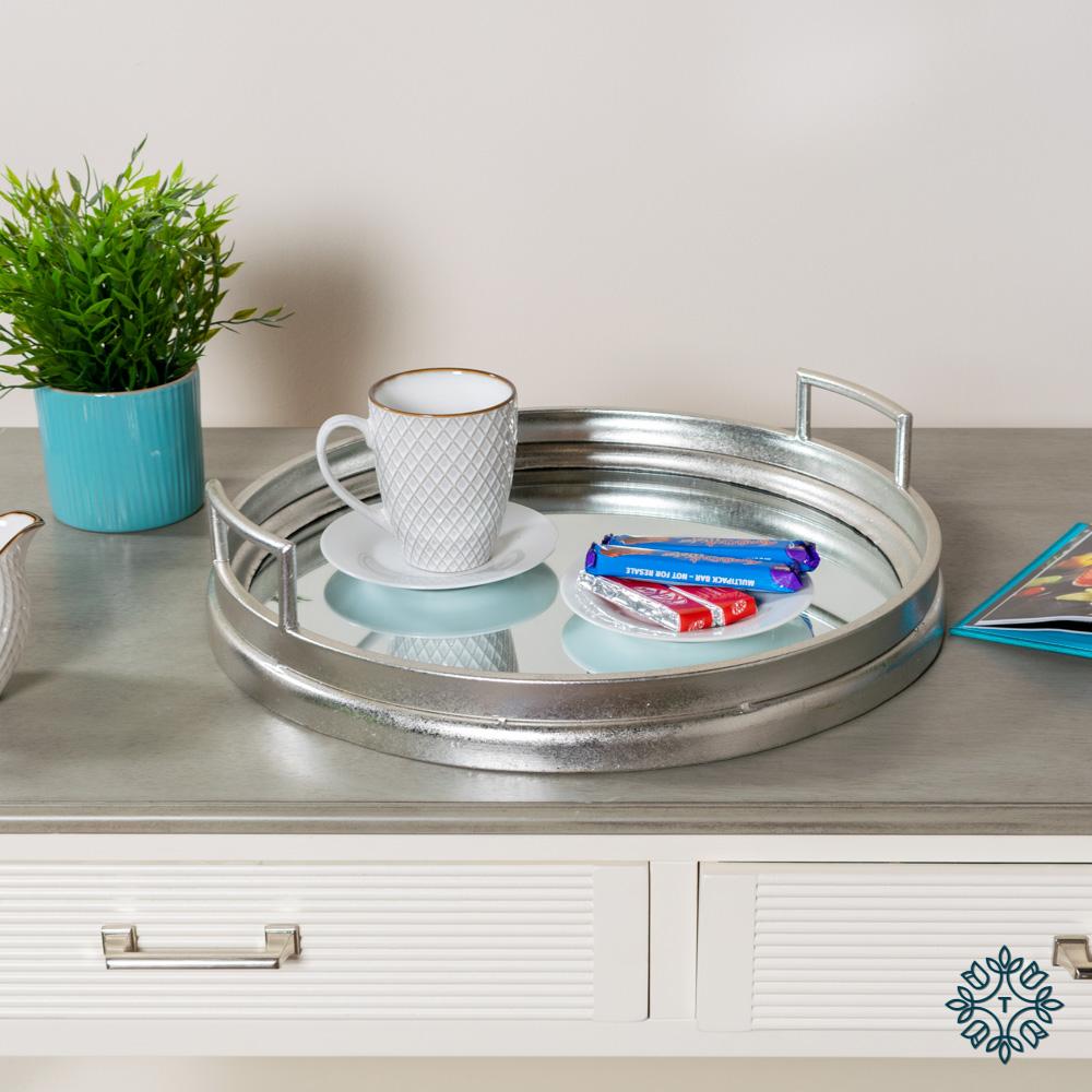Amelia mirrored tray round silver