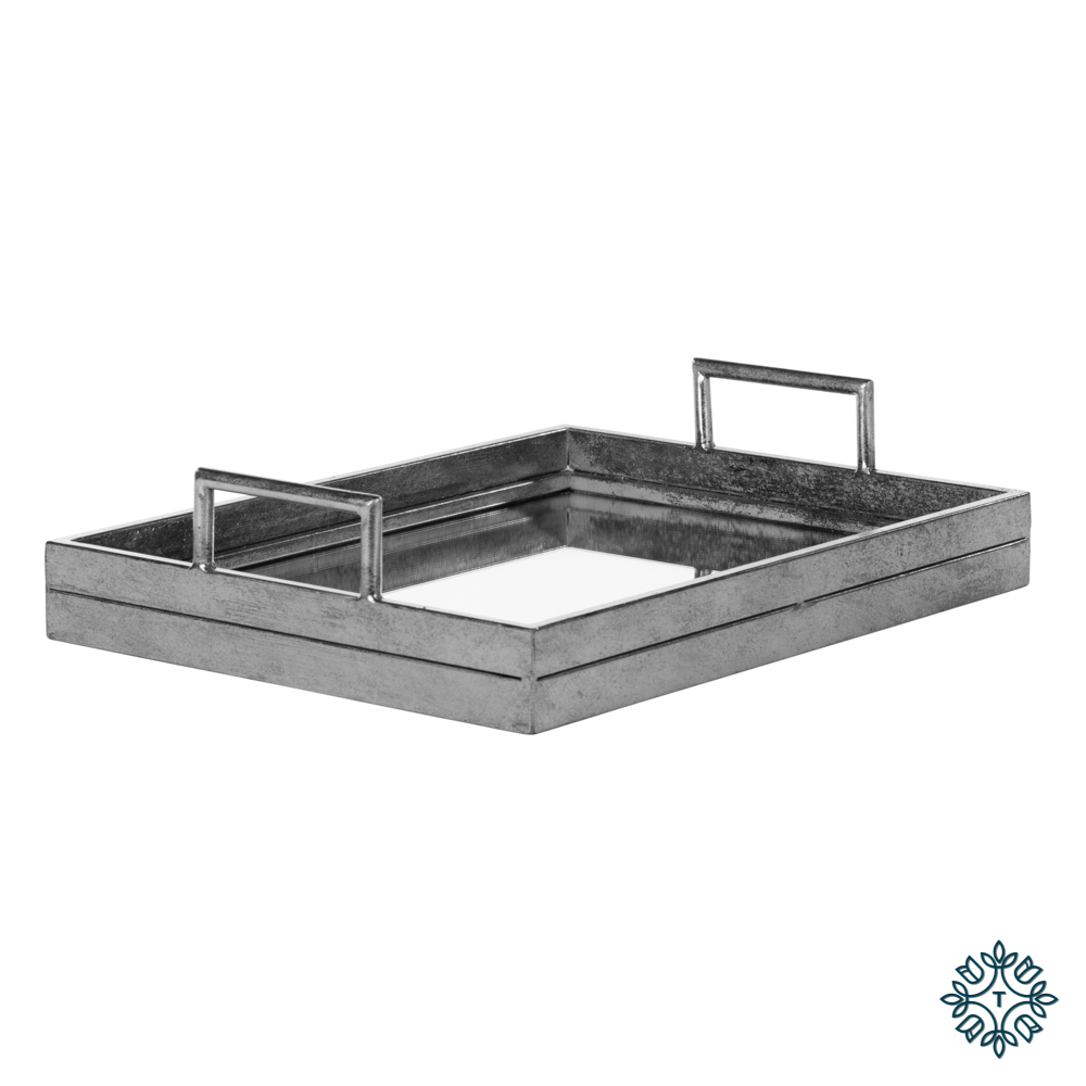 Amelia mirrored tray rectangle silver