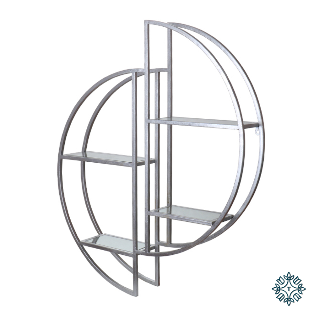 Harriet mirrored wall shelf silver