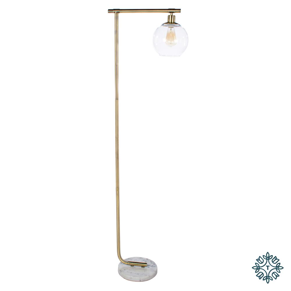 Globe floor lamp marble/gold 152cm