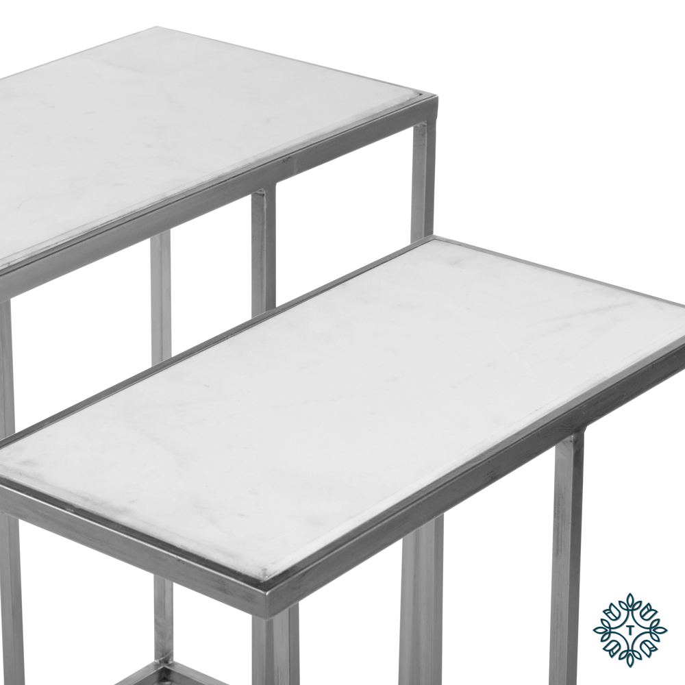 Bella s/2 sofa tables marble top silver