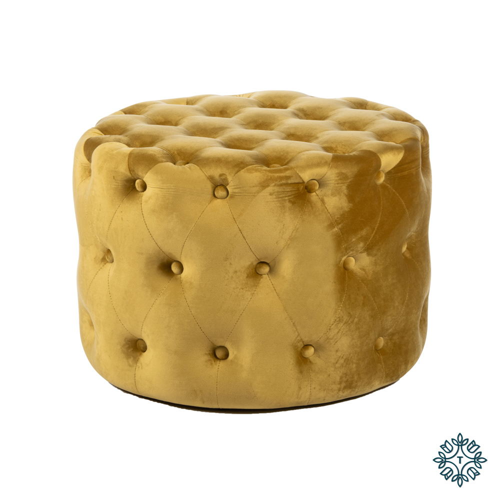 Taylor velvet pouffe round mustard yellow 60cm