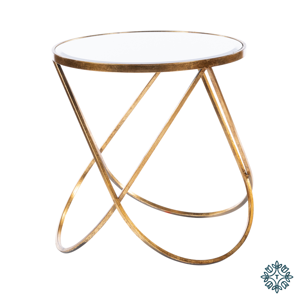 Harriet loop side table antique gold