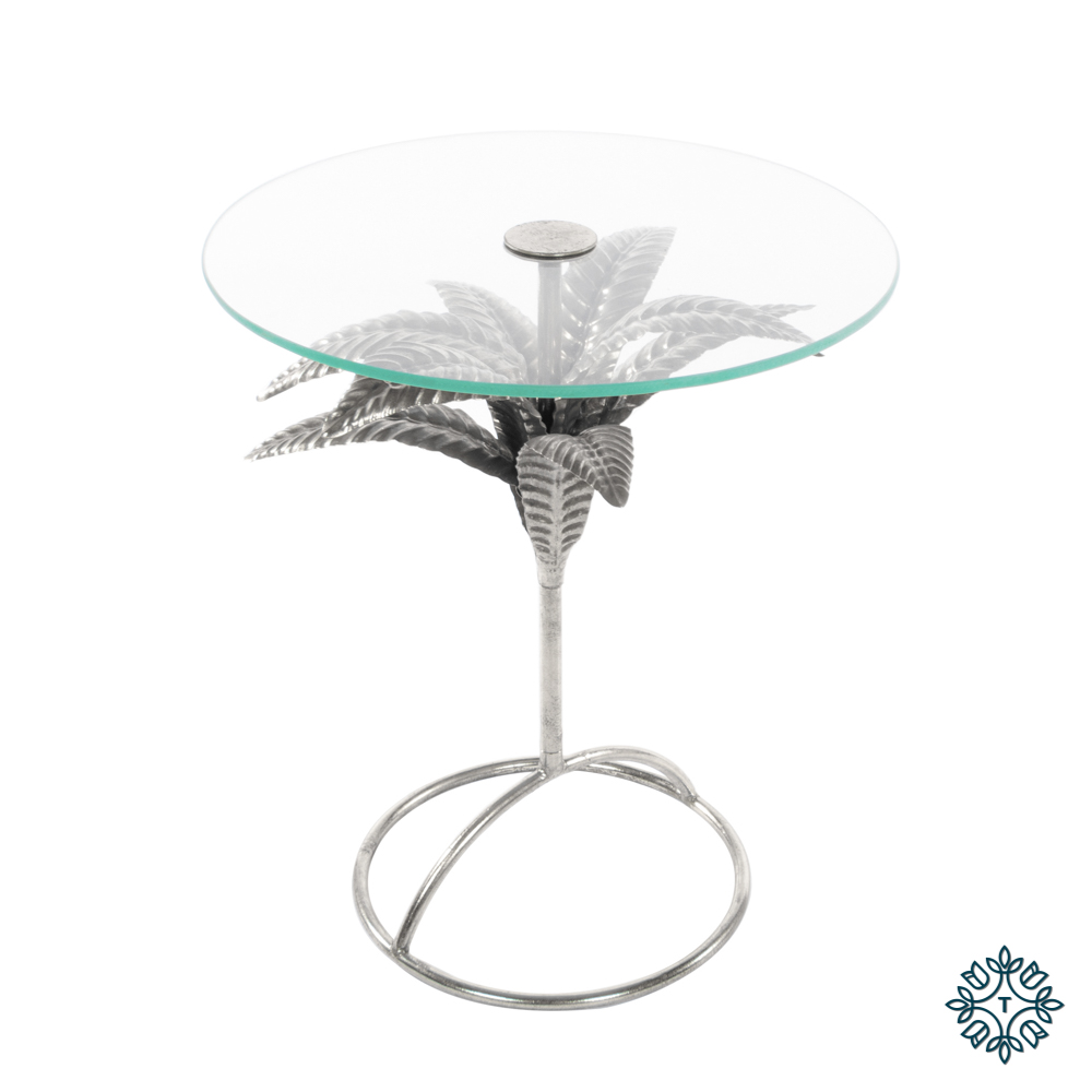 Azure leaf accent table round silver