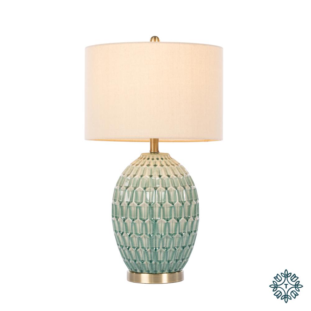 Gemma ceramic lamp geometric pattern aqua