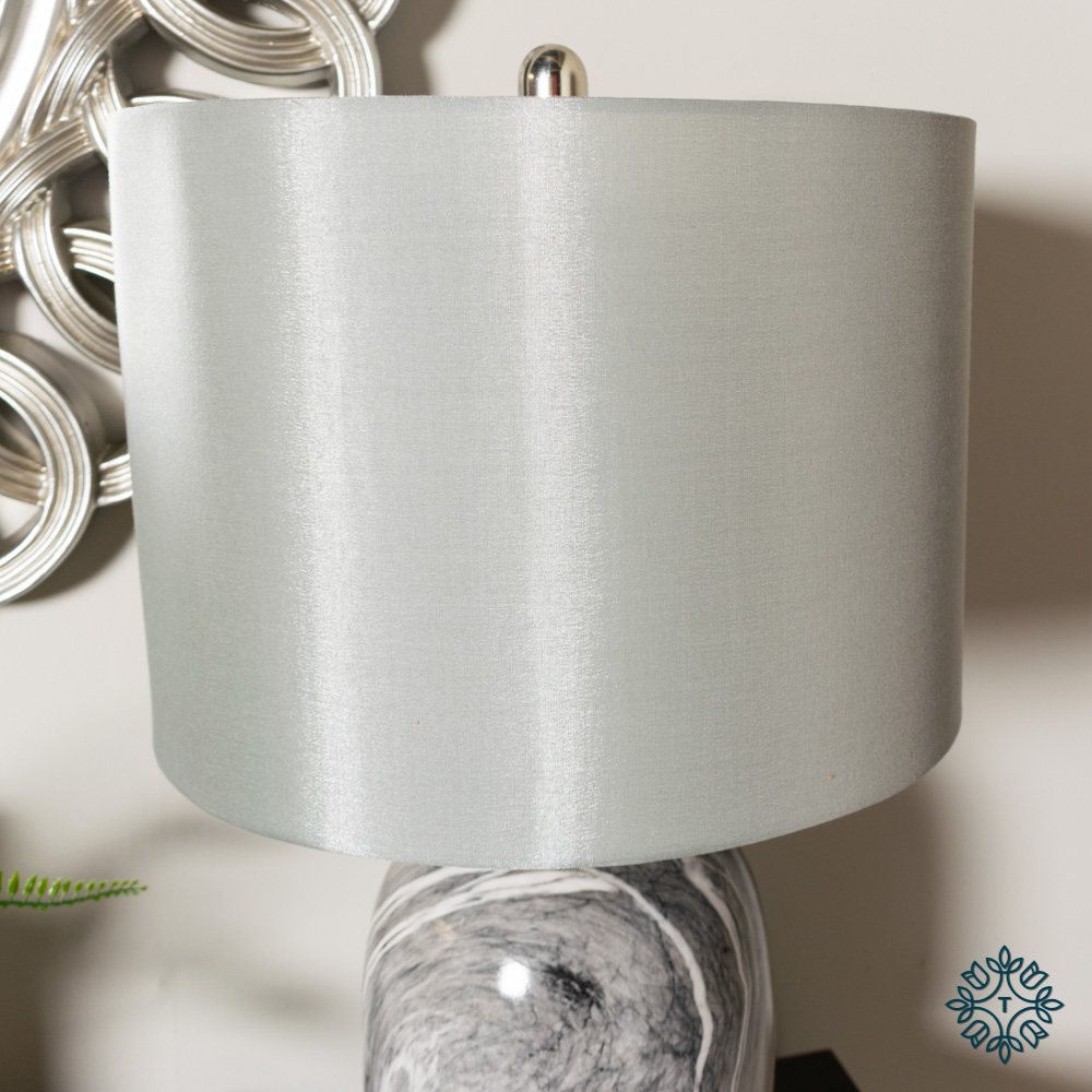 Ember ceramic lamp grey linen shade