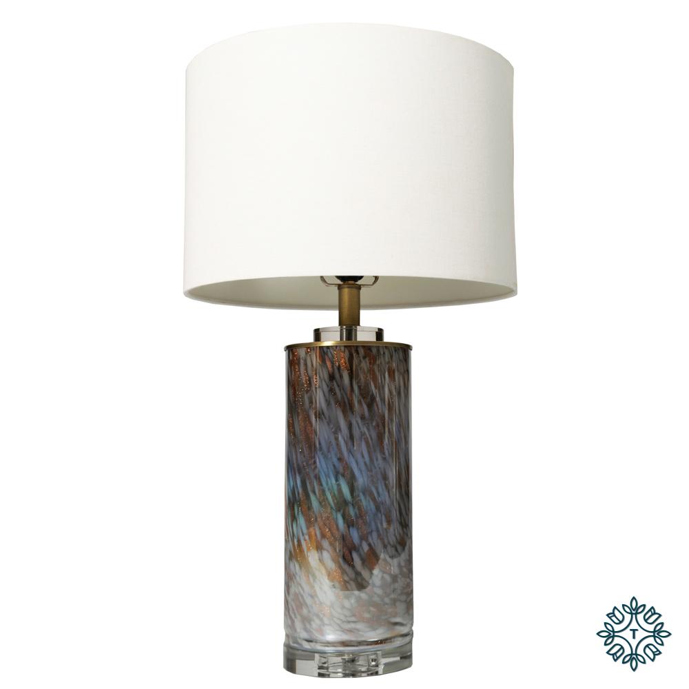 Luna glass table lamp white linen shade