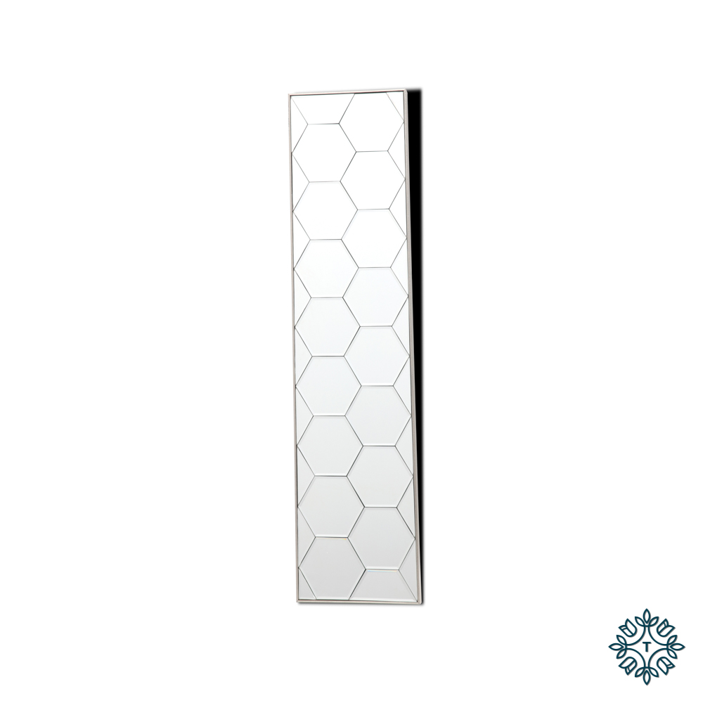 Gia hexagonal slim mirror art 23 x 100cm