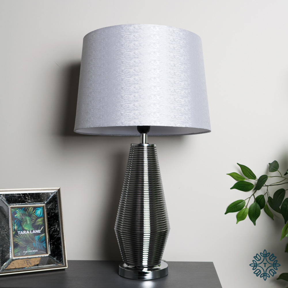 Macy ridges table lamp smoked grey 64cm