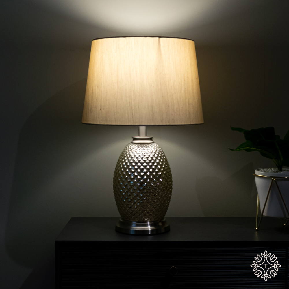 Acorn speckled table lamp silver/gold 48cm