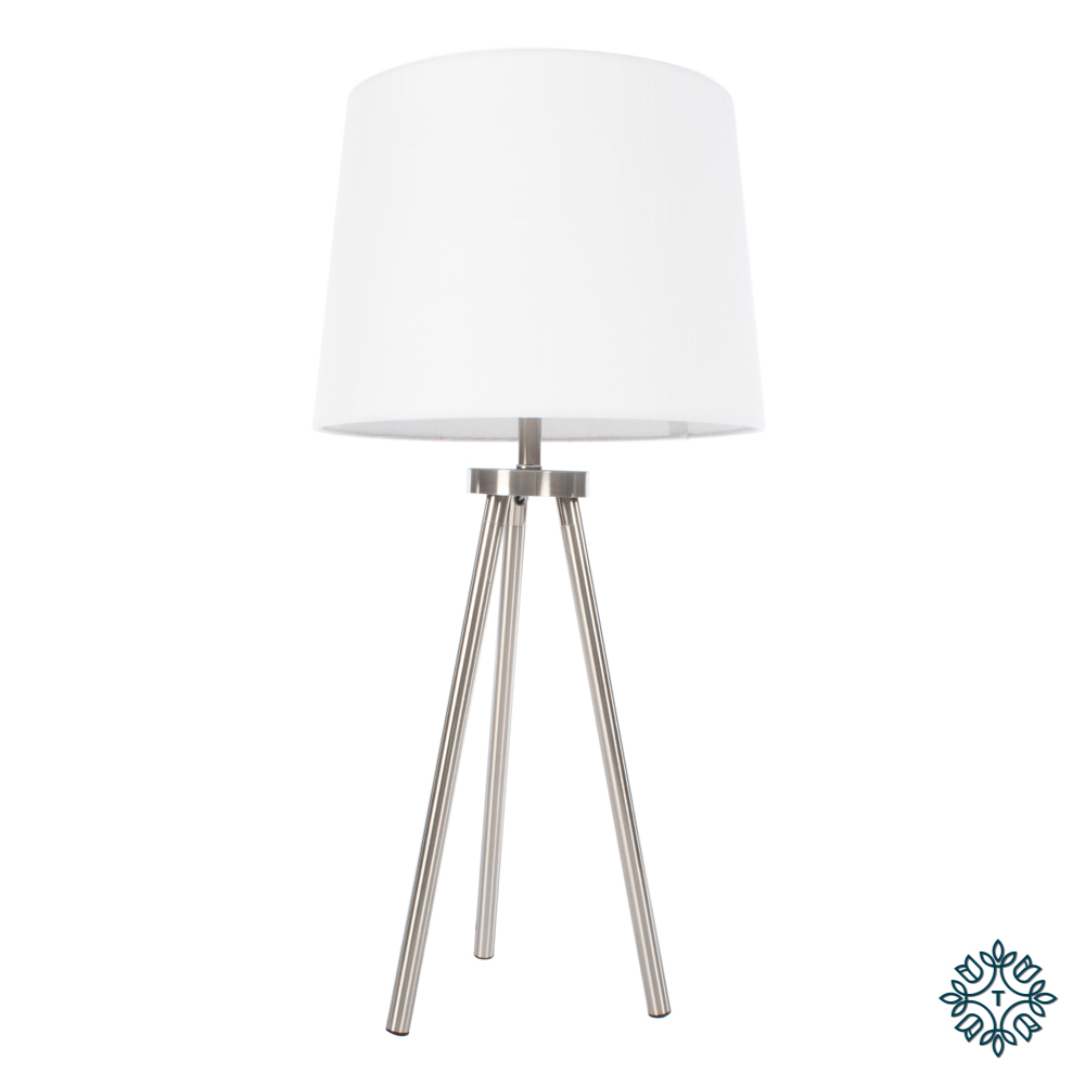Ellie tripod table lamp satin silver 74cm