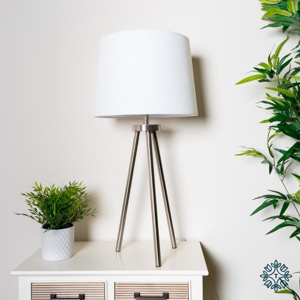 Ellie tripod table lamp satin silver 74cm