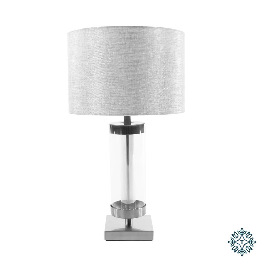 Jane glass cylinder lamp silver/grey 54cm