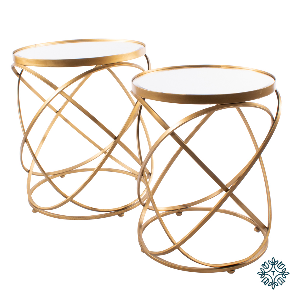 Spirals set of two side tables with mirror gold