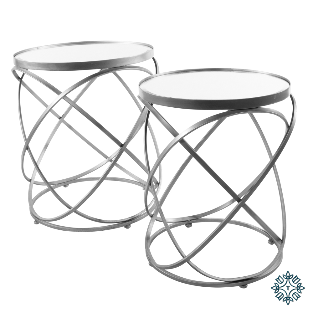 Spirals set of two side table with mirror silver