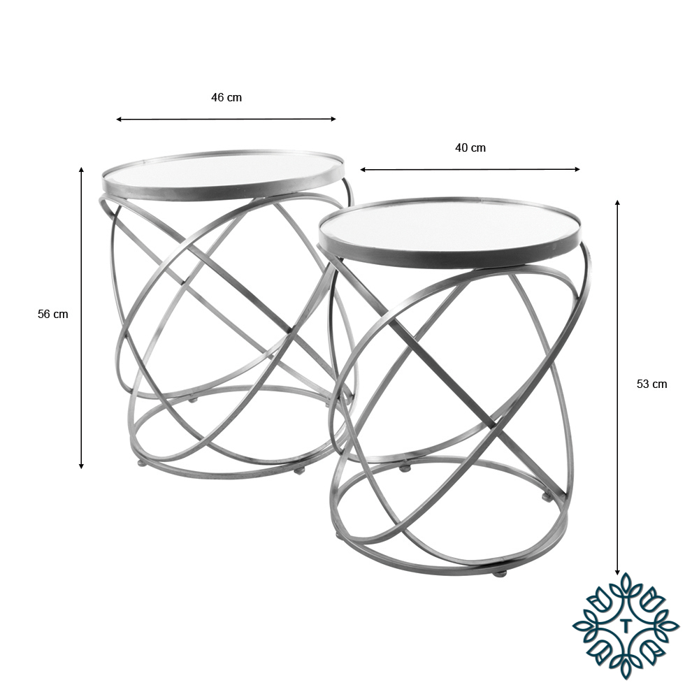 Spirals s/2 side table with mirror silver