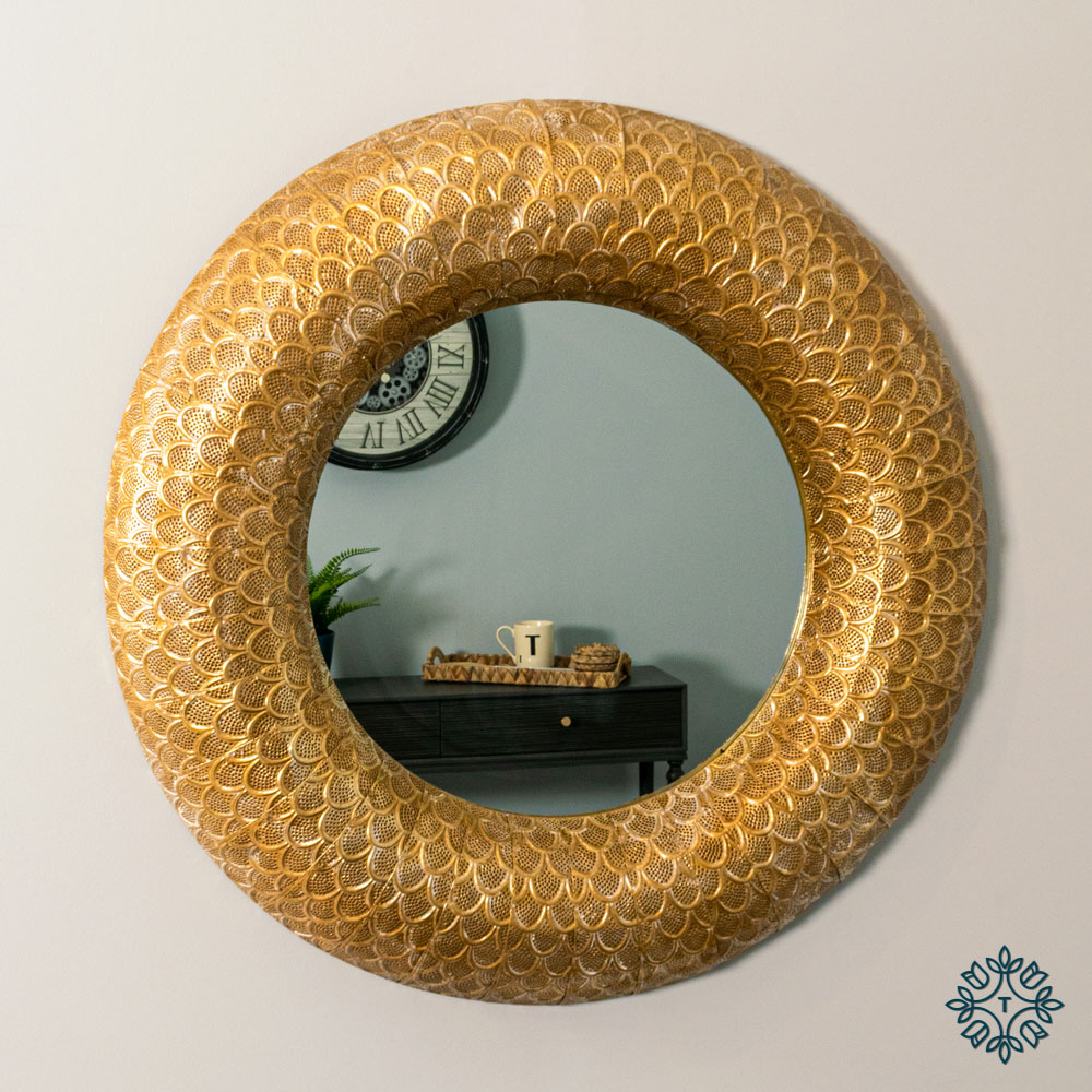 Casablanca metal wall mirror round 90cm