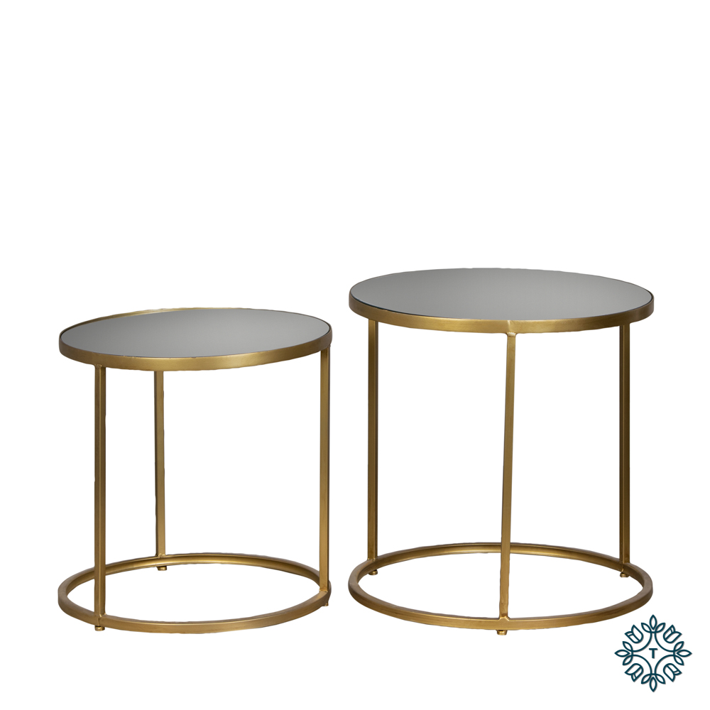 Avery set of two side tables round mirrored gold