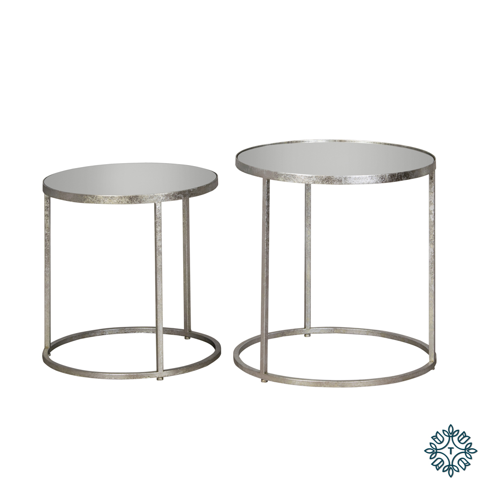 Avery set of two side tables round mirrored silver