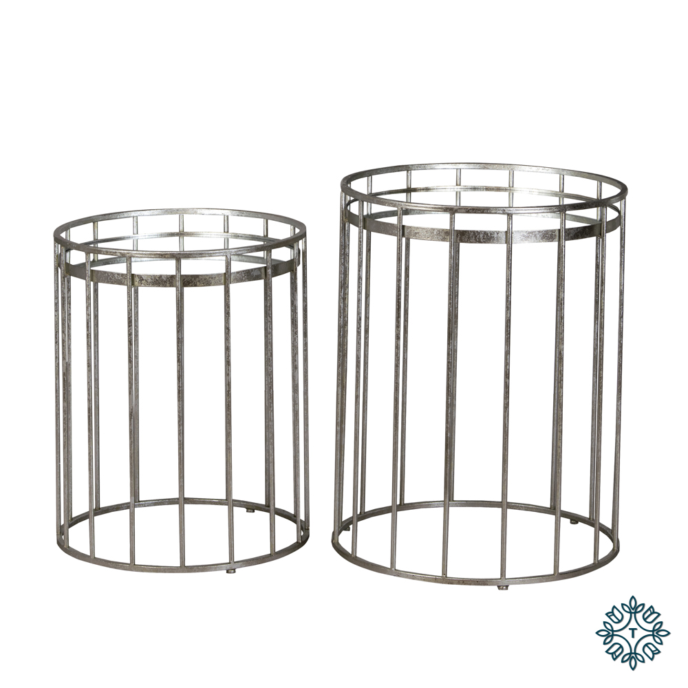 Cage set of two side tables round mirrored silver