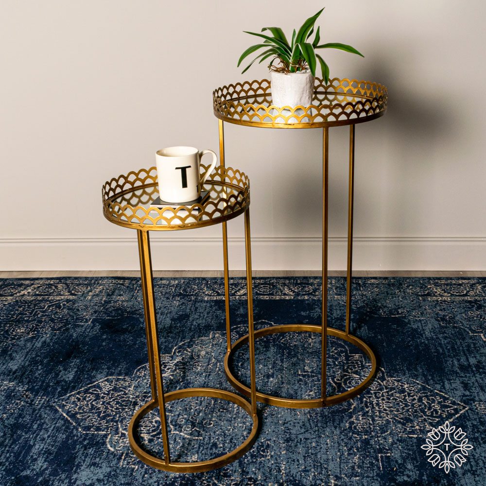 Ridgley s/2 accent tables round mirrored gold