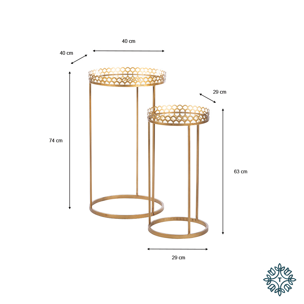 Ridgley set of two accent tables round mirrored gold