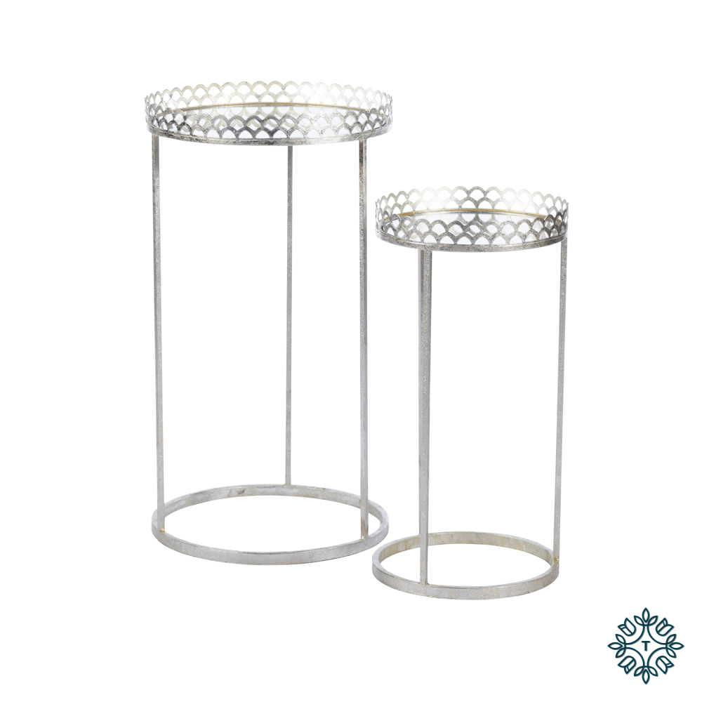 Ridgley s/2 accent tables round mirrored silv